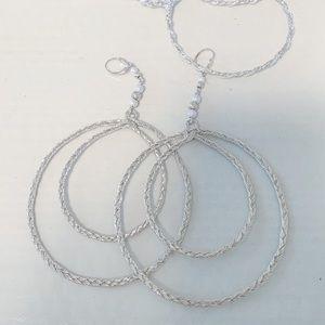 Handmade silver hoop earrings